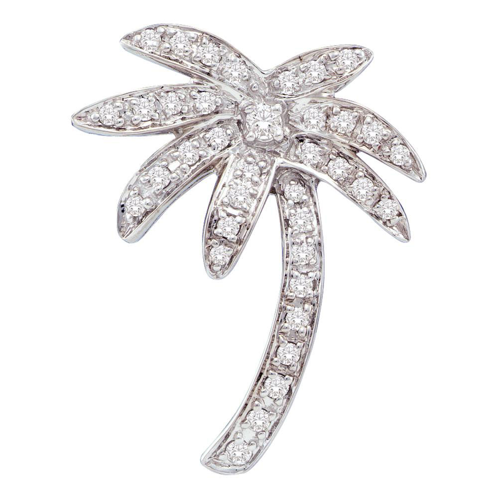 Diamond Palm Tree Nautical Beach Pendant 14kt White Gold