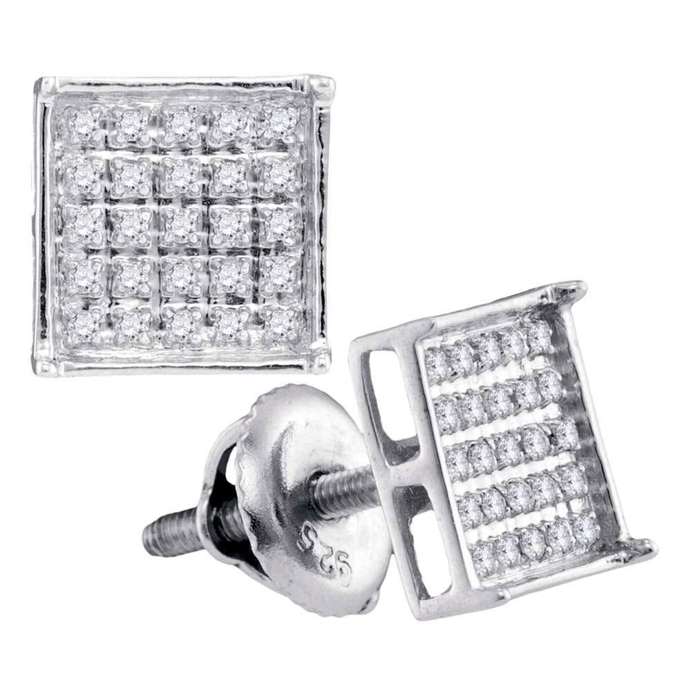 Unisex Diamond Square Cluster Stud Earrings 14kt White Gold