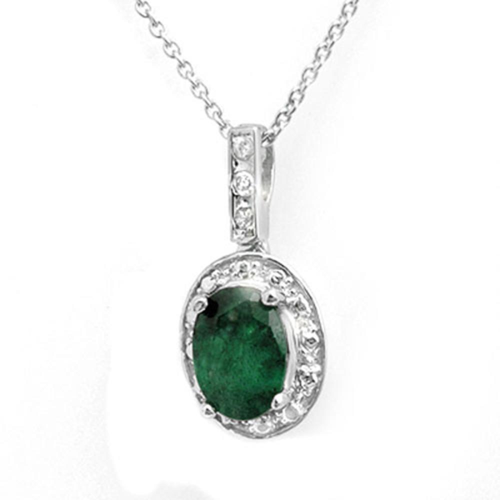 1.02 CTW Genuine Emerald & Diamond Pendant 18K White Gold