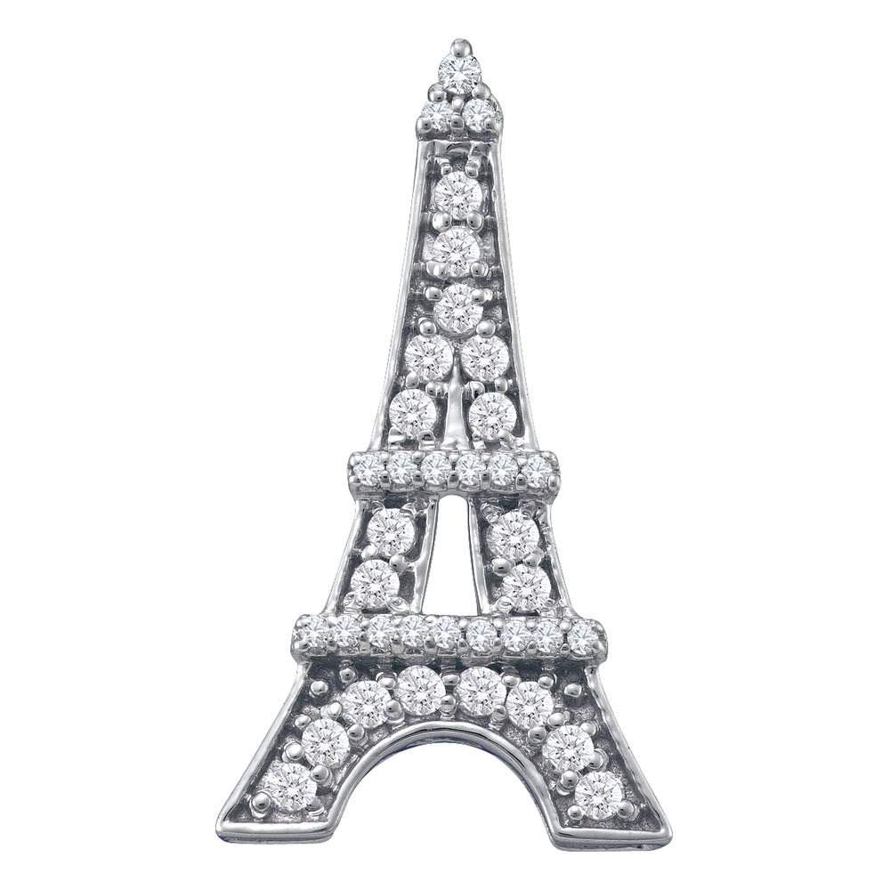 Diamond Eiffel Tower Fashion Pendant 10kt White Gold