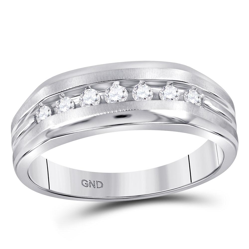 Mens Diamond Wedding Single Row Band 10kt White Gold
