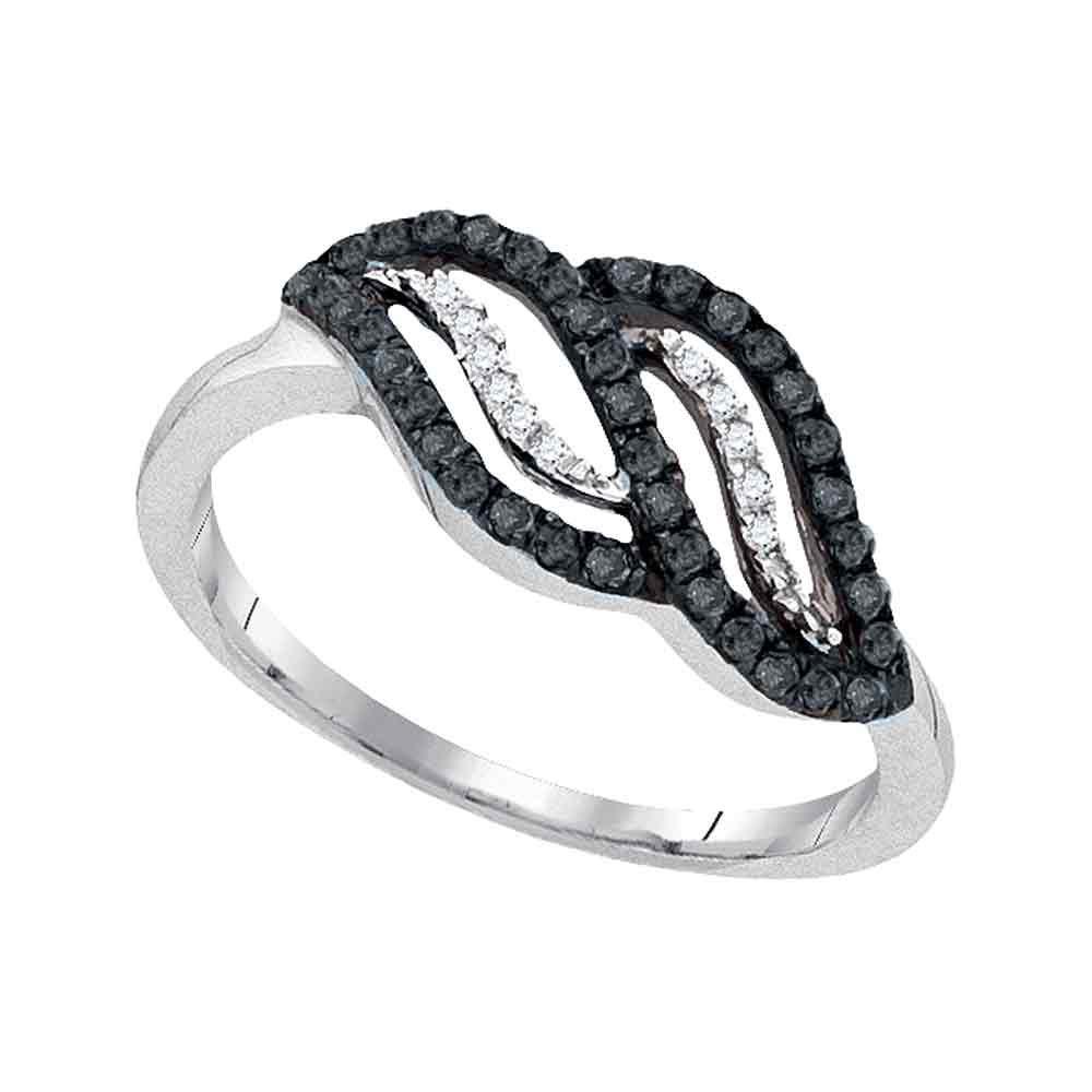 Black Color Enhanced Diamond Crossover Band 10kt White Gold