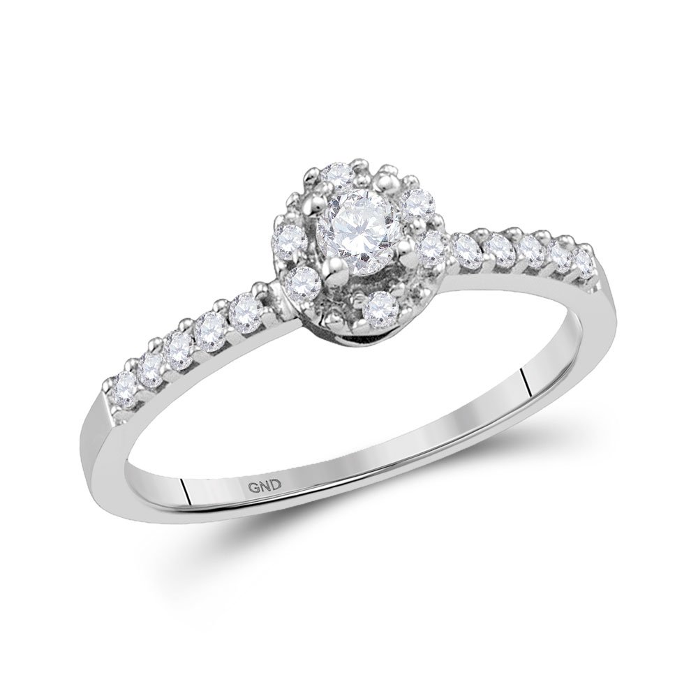 Diamond Solitaire Promise Bridal Ring 10kt White Gold