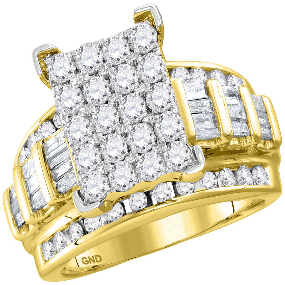 Diamond Cindys Dream Cluster Bridal Wedding Engagement Ring 10kt Yellow Gold