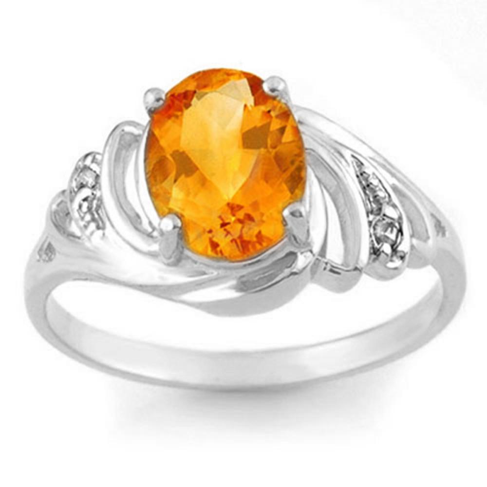 2.04 CTW Genuine Citrine & Diamond Ring 18K White Gold