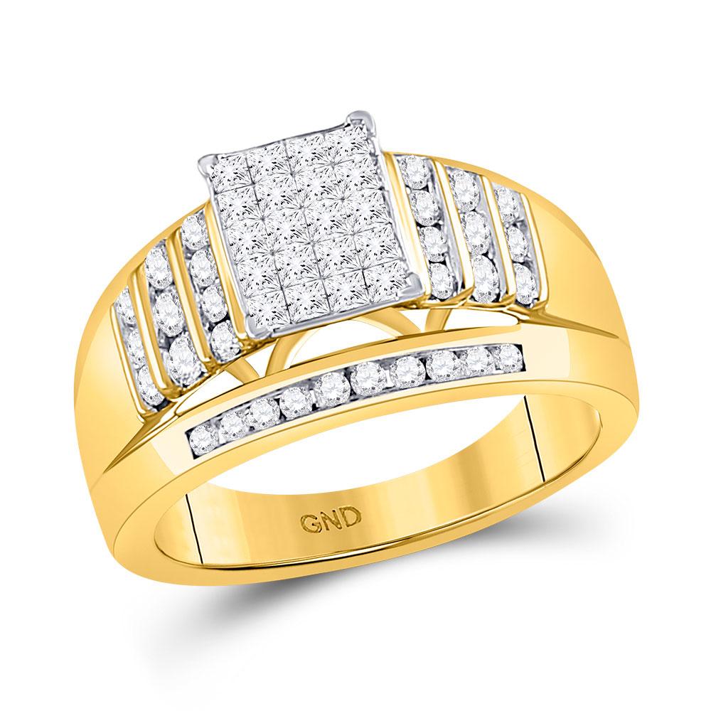 Princess Diamond Cluster Ring 10kt Yellow Gold