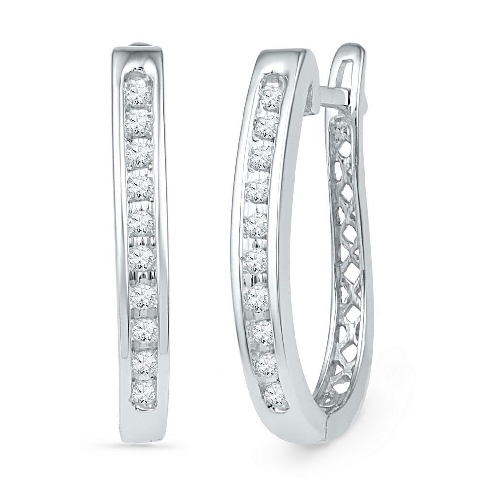 Diamond Slender Single Row Oblong Hoop Earrings 10kt White Gold