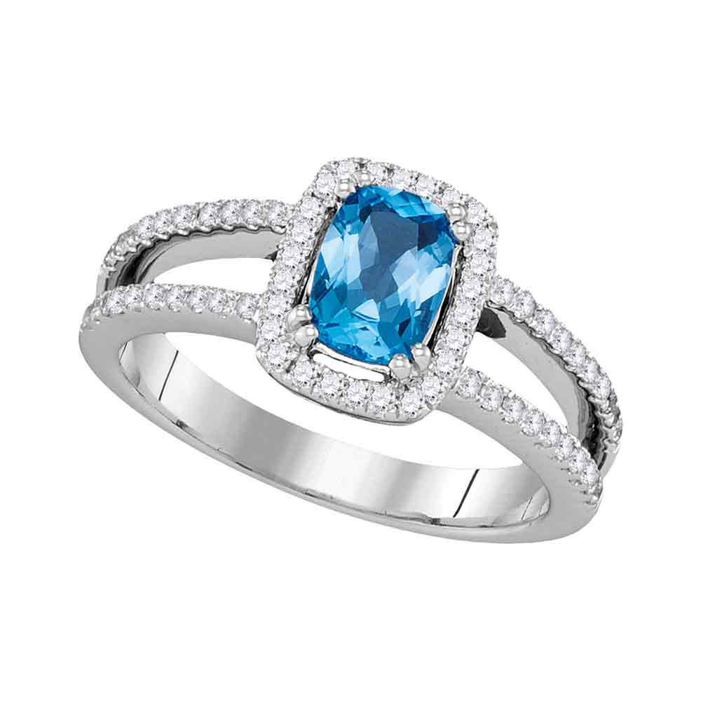 Oval Blue Topaz Solitaire Diamond-accent Ring 14kt White Gold