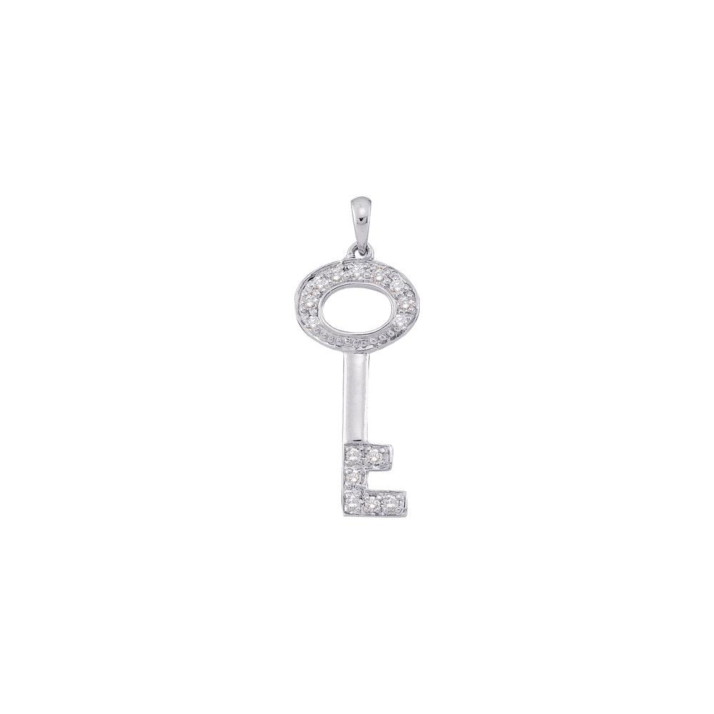 Diamond Small Key Pendant 14kt White Gold