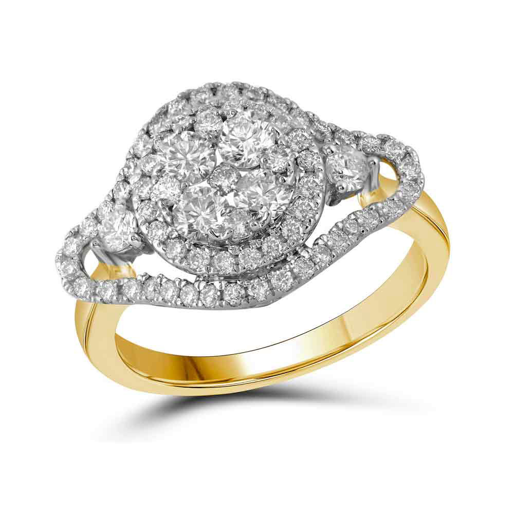 Diamond Cluster Halo Bridal Wedding Engagement Ring 10kt Yellow Gold