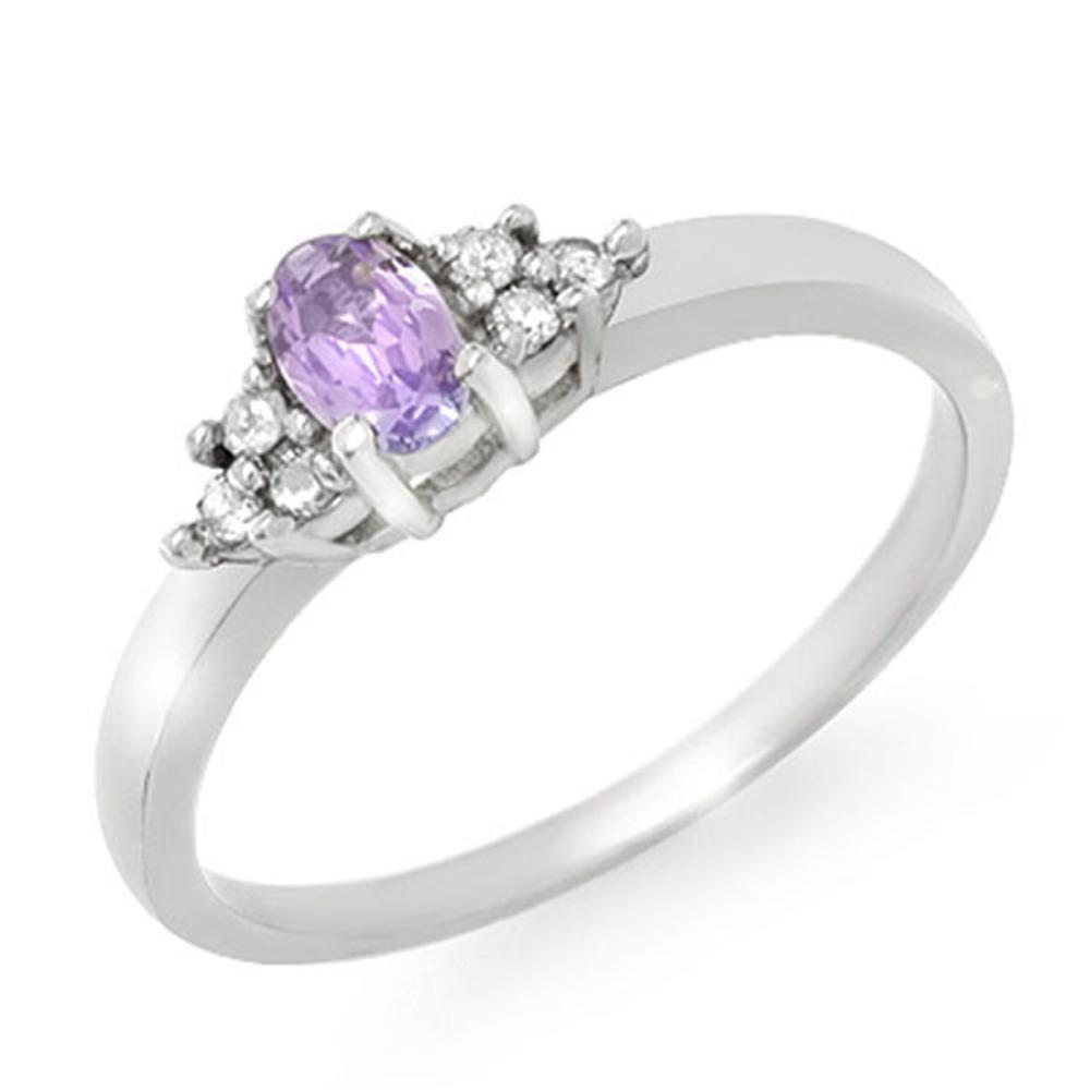 0.31 CTW Genuine Tanzanite & Diamond Ring 10K White Gold