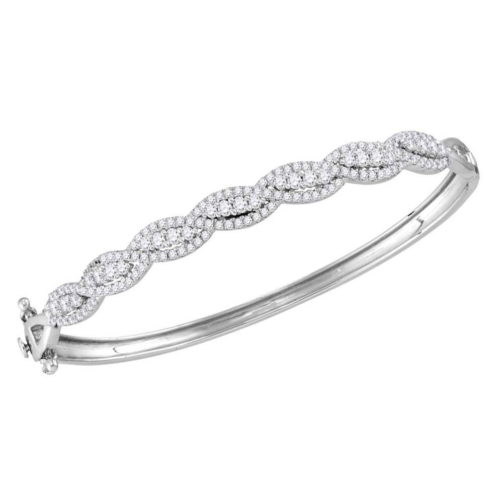 Diamond Cascade Twist Bangle Bracelet 14kt White Gold