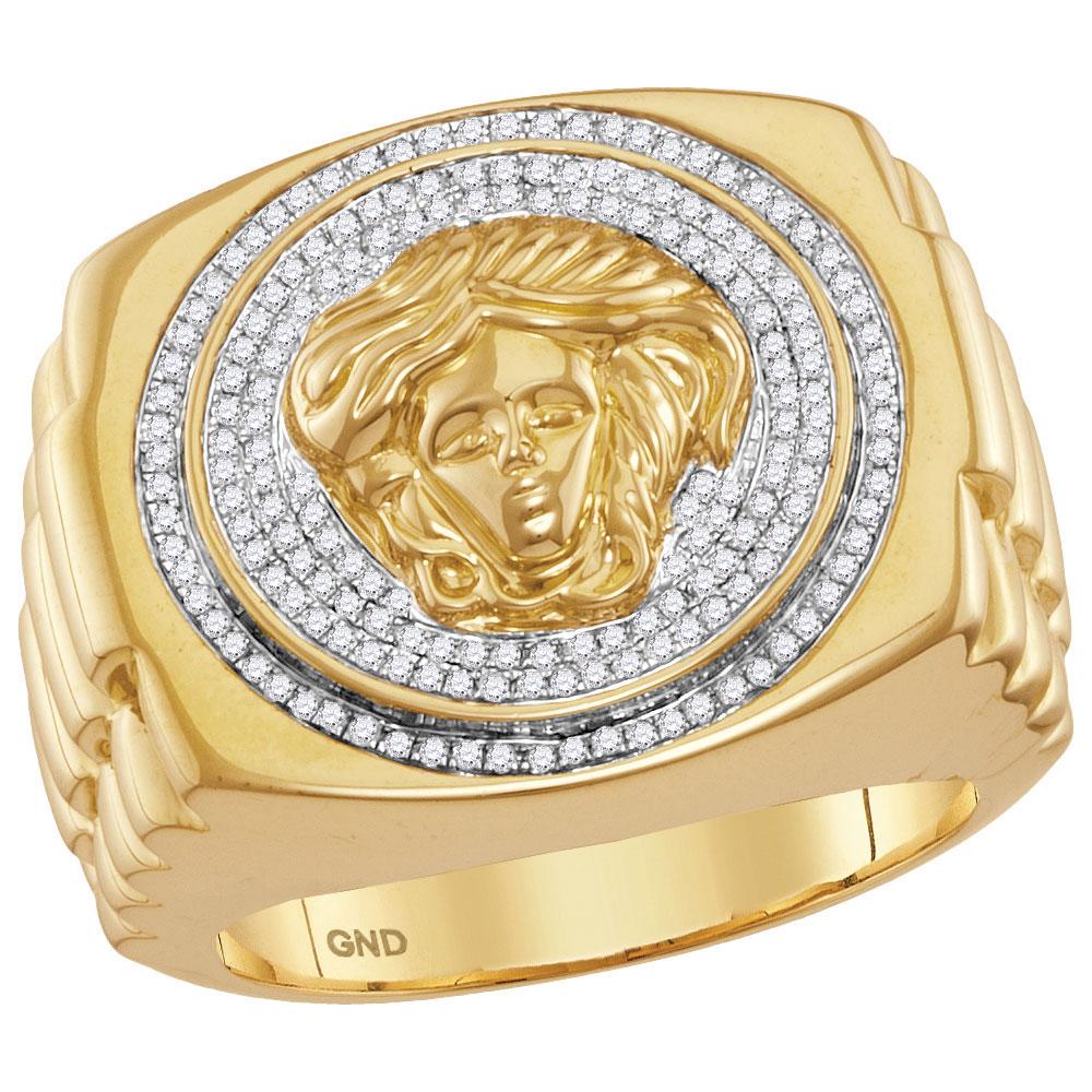 Mens Diamond Gorgon Medusa Ribbed Cluster Ring 10kt Yellow Gold