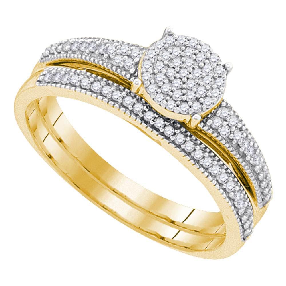 Diamond Cluster Bridal Wedding Engagement Ring 10k Yellow Gold