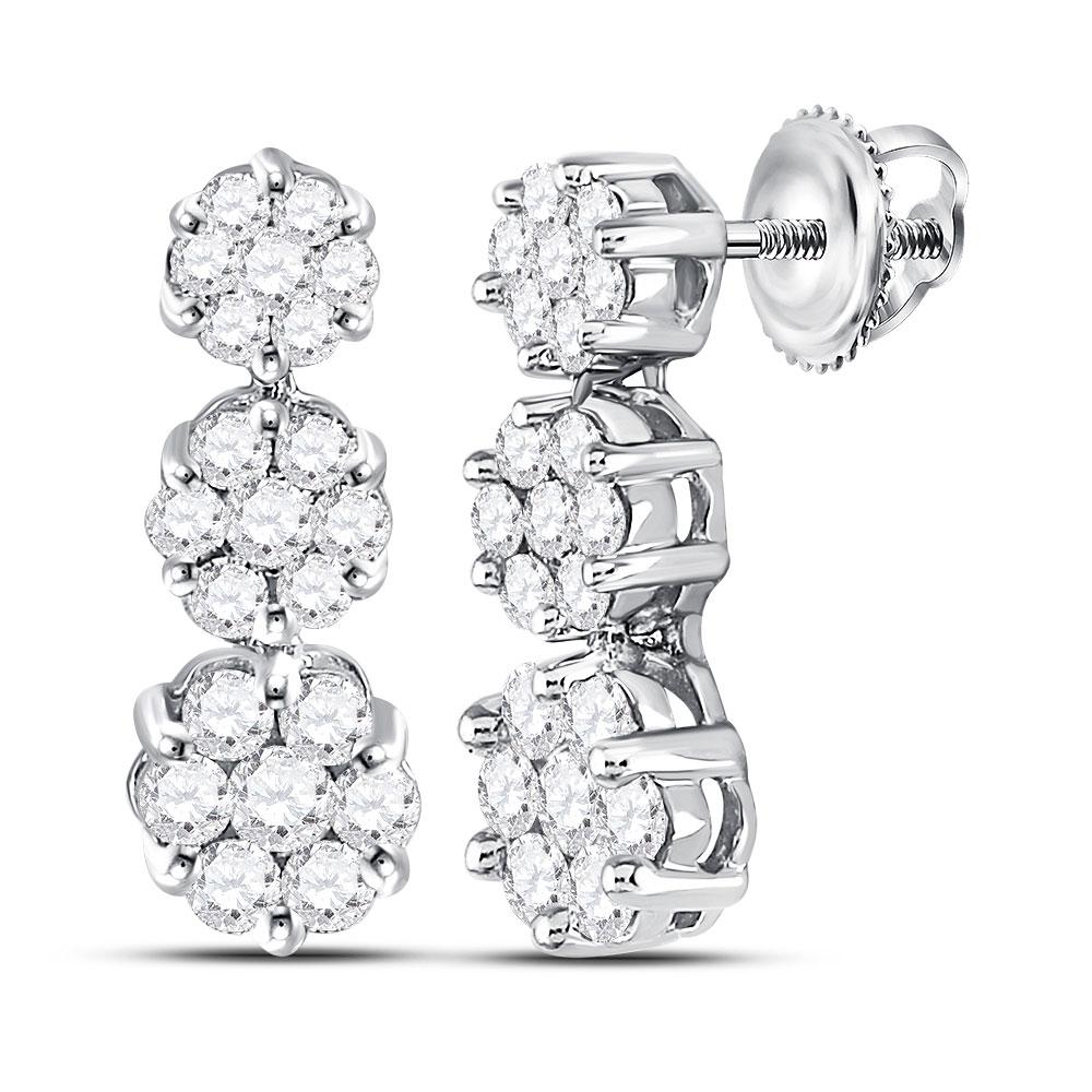 Diamond Triple Vertical Flower Cluster Earrings 14kt White Gold