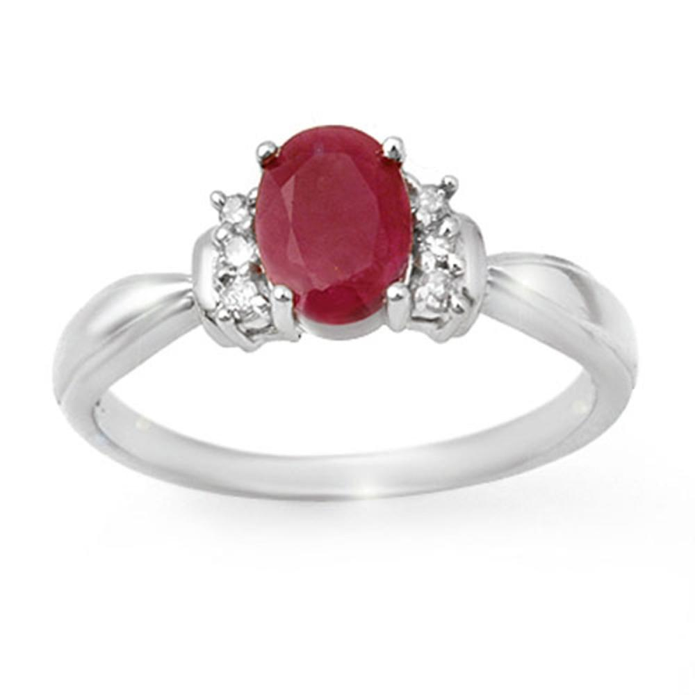 1.35 CTW Genuine Ruby & Diamond Ring 18K White Gold