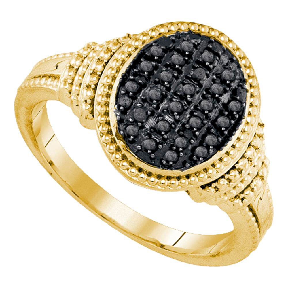 Black Color Enhanced Diamond Oval Cluster Ring Yellow-tone Sterling Silver