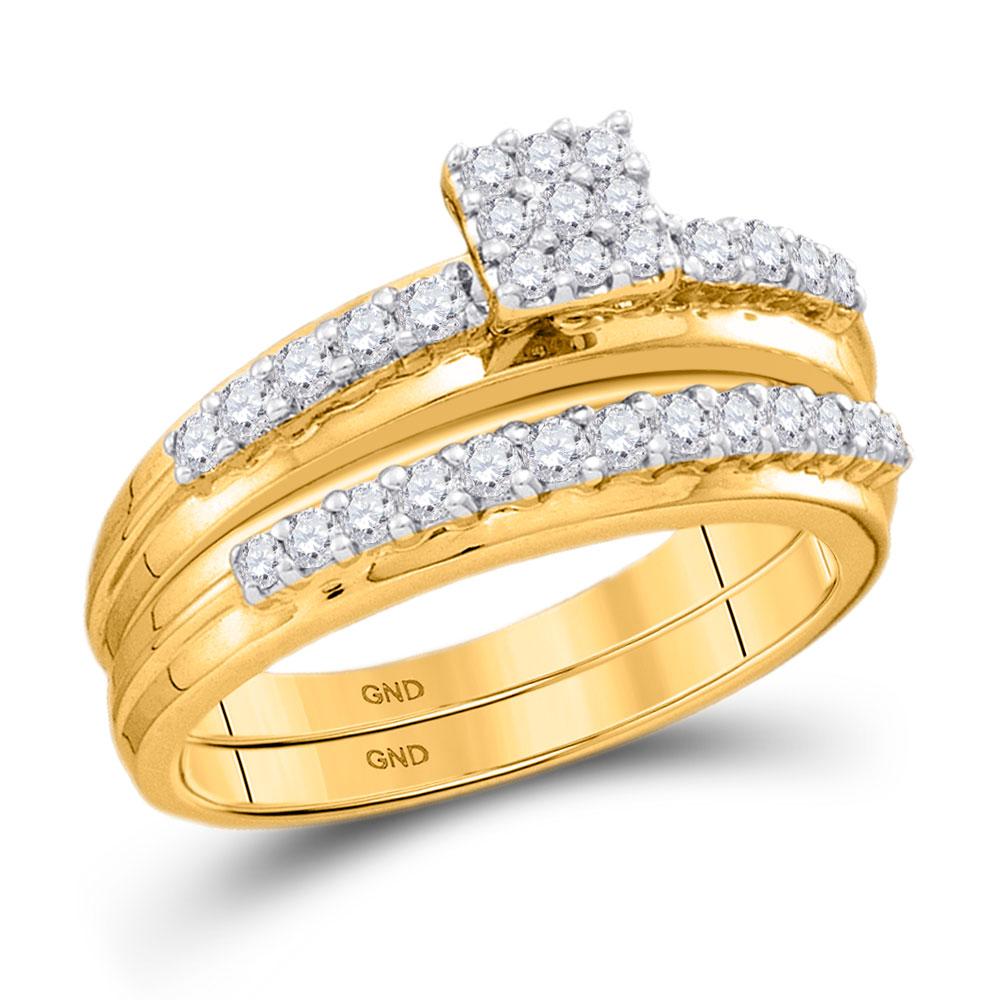 Diamond Cluster Bridal Wedding Engagement Ring 14k White Gold