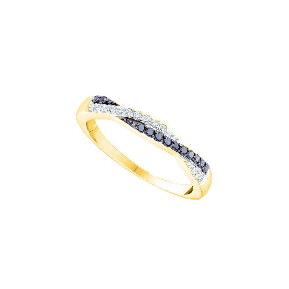 Black Color Enhanced Diamond Slender Twist Band 14kt Yellow Gold
