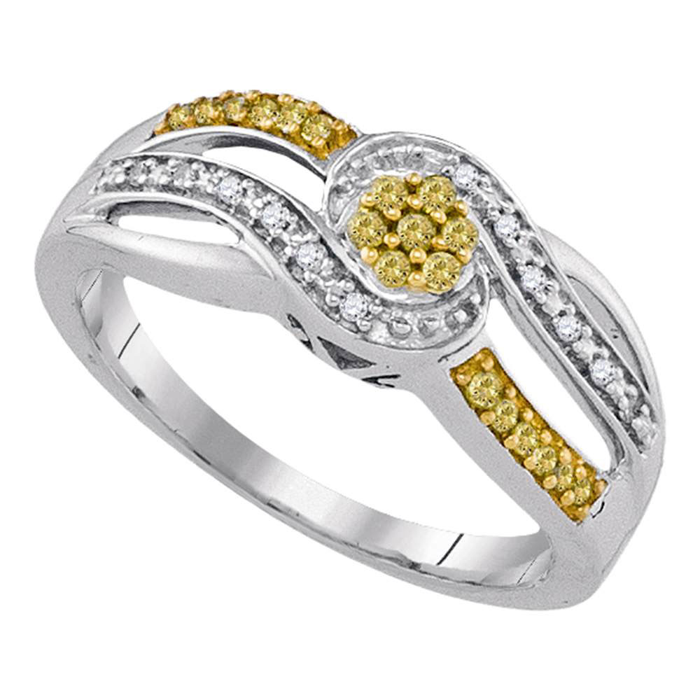 Yellow Color Enhanced Diamond Swirl Cluster Ring Sterling Silver