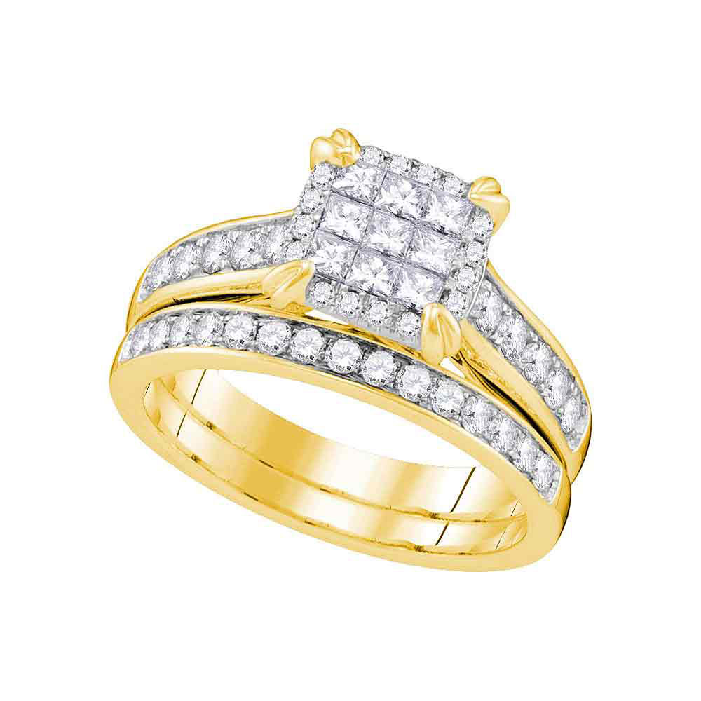 Princess Diamond Cluster Bridal Wedding Engagement Ring 14kt Yellow Gold