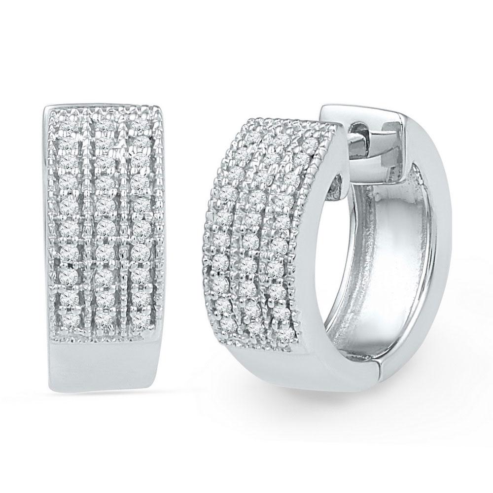 Diamond Huggie Hoop Earrings 10kt White Gold