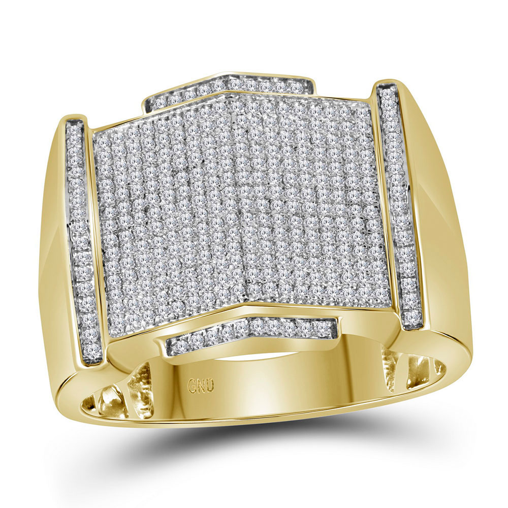 Mens Diamond Pointed Symmetrical Cluster Ring 10kt Yellow Gold