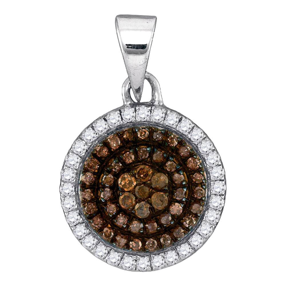 Brown Diamond Circle Frame Cluster Pendant 10kt White Gold