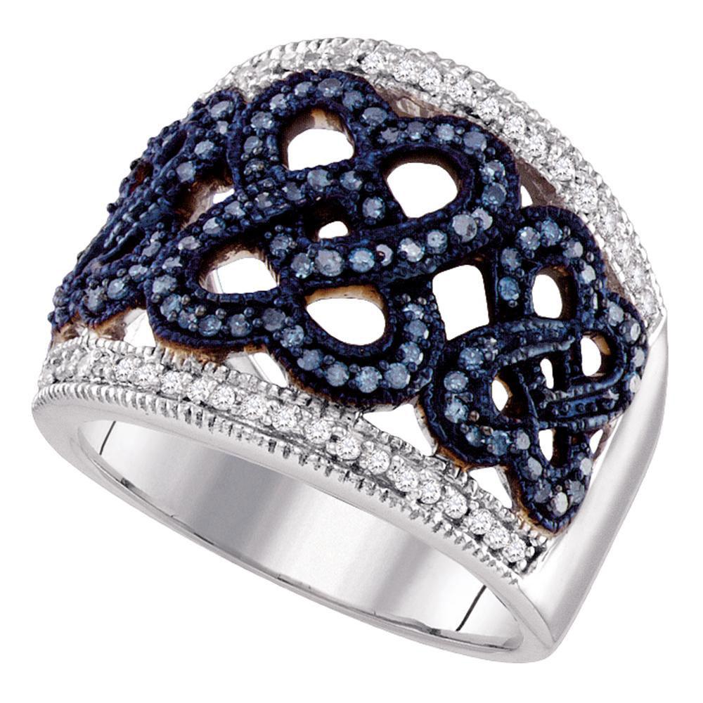 Blue Color Enhanced Diamond Linked Heart Ring 10kt White Gold