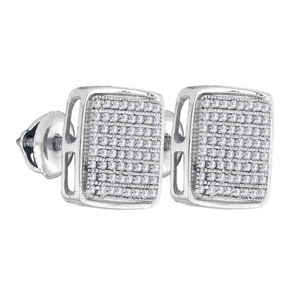 Mens Diamond Square Cluster Stud Earrings Sterling Silver