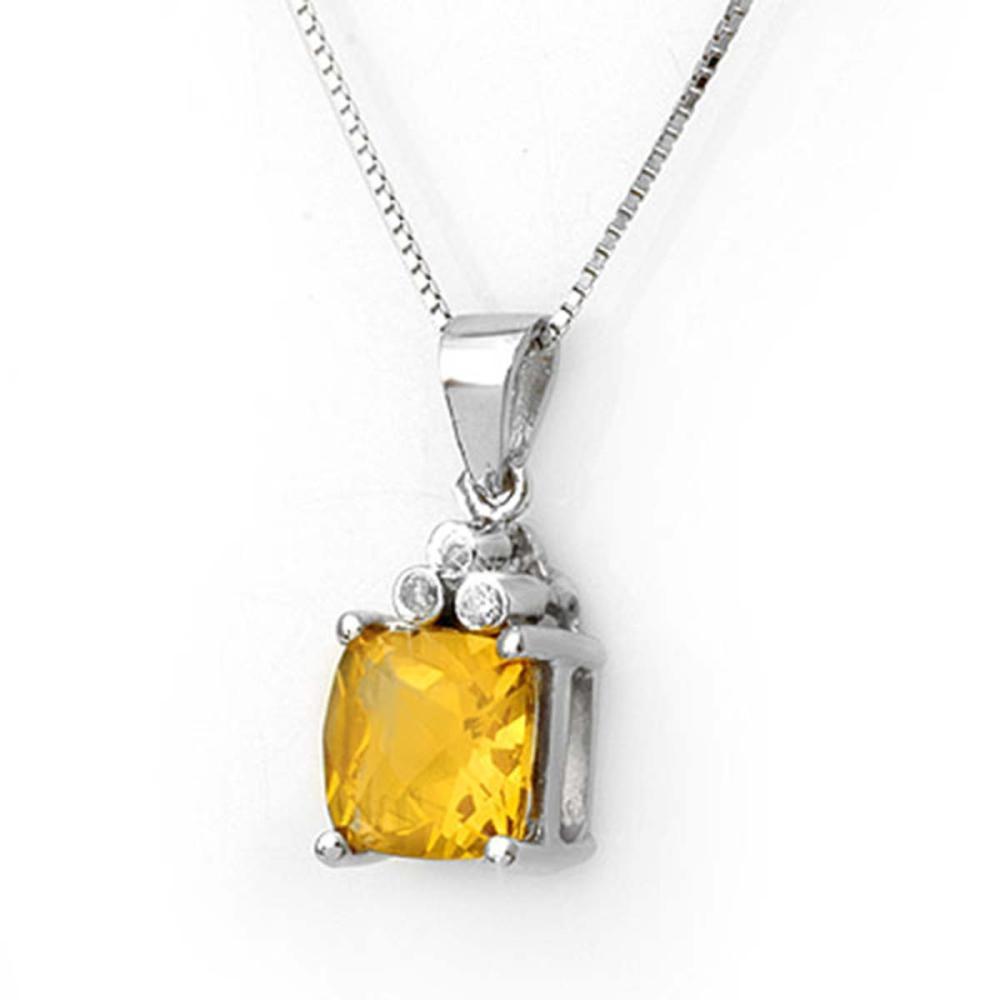 2.56 CTW Genuine Citrine & Diamond Necklace 18K White Gold