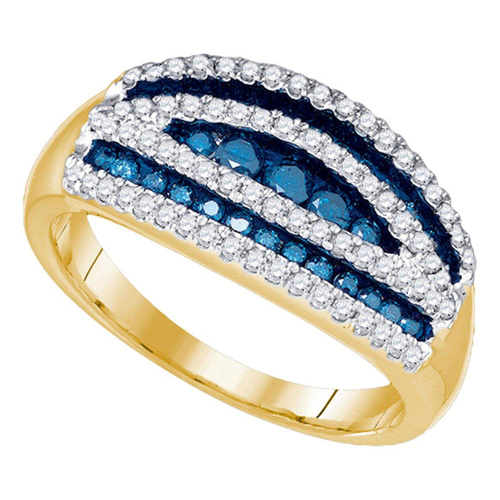 Blue Color Enhanced Diamond Striped Cocktail Band 10k Yellow Gold