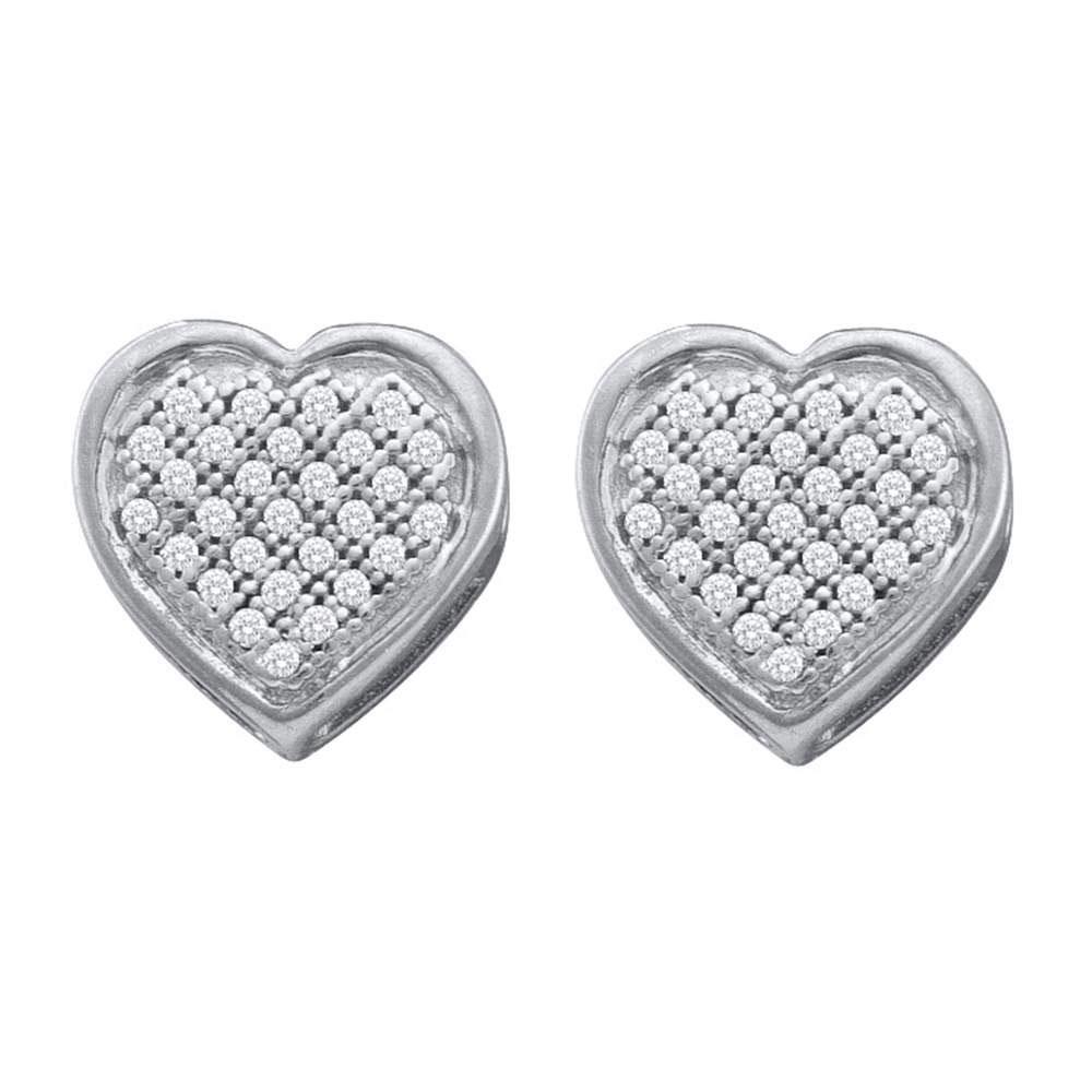 Diamond Heart Cluster Screwback Earrings 10kt White Gold