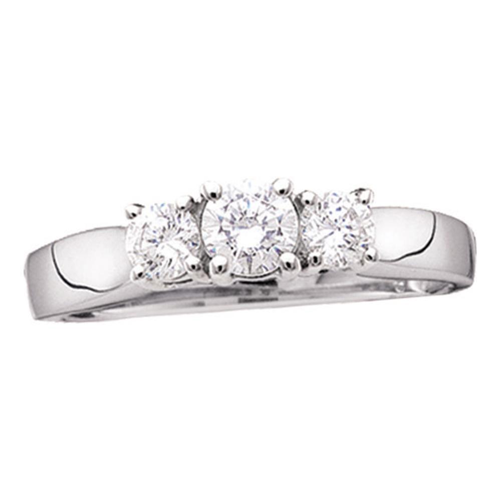 Diamond 3-stone Bridal Wedding Engagement Ring 14kt White Gold