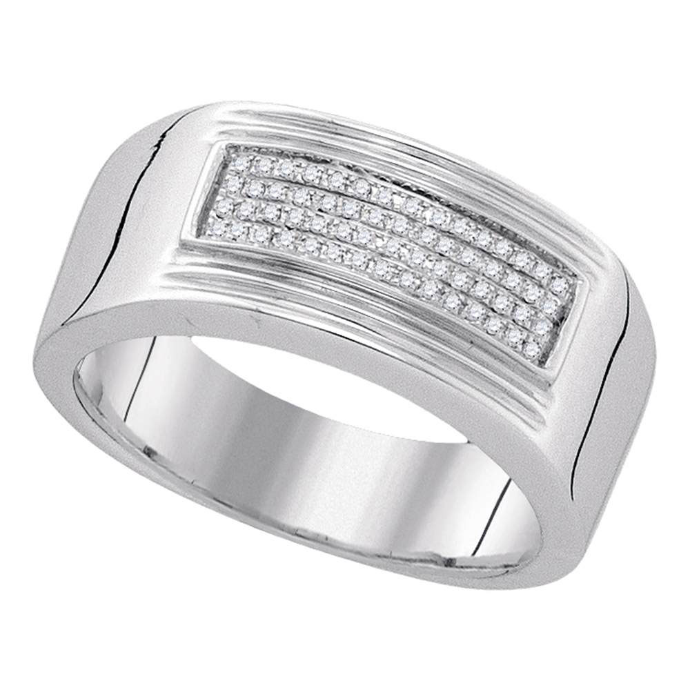 Mens Diamond Rectangle Cluster Band Sterling Silver
