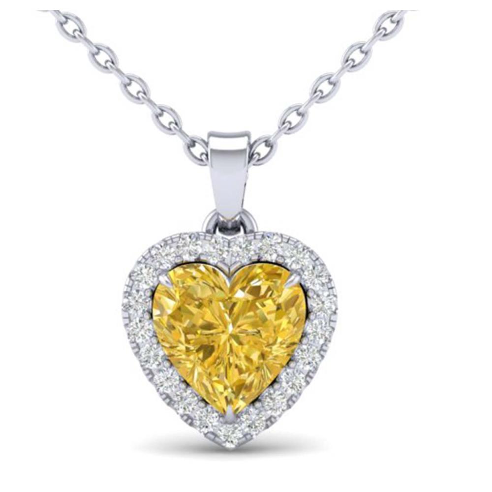 1 CTW Genuine Citrine & SI1-SI2 Diamond Heart Necklace 14K White Gold