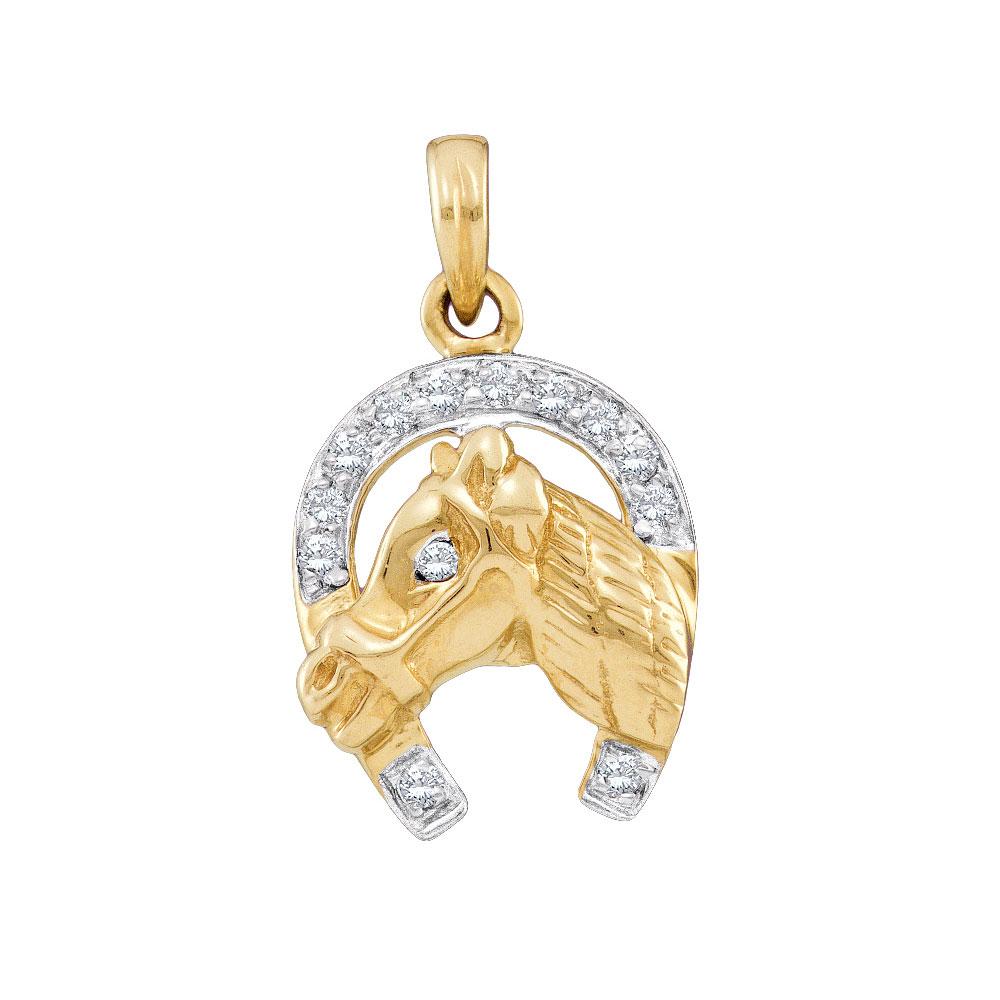 Diamond Lucky Horseshoe Pendant 14kt Two-tone Gold