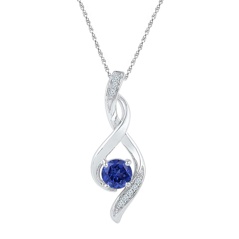 Lab-Created Blue Sapphire Fashion Pendant 10kt White Gold