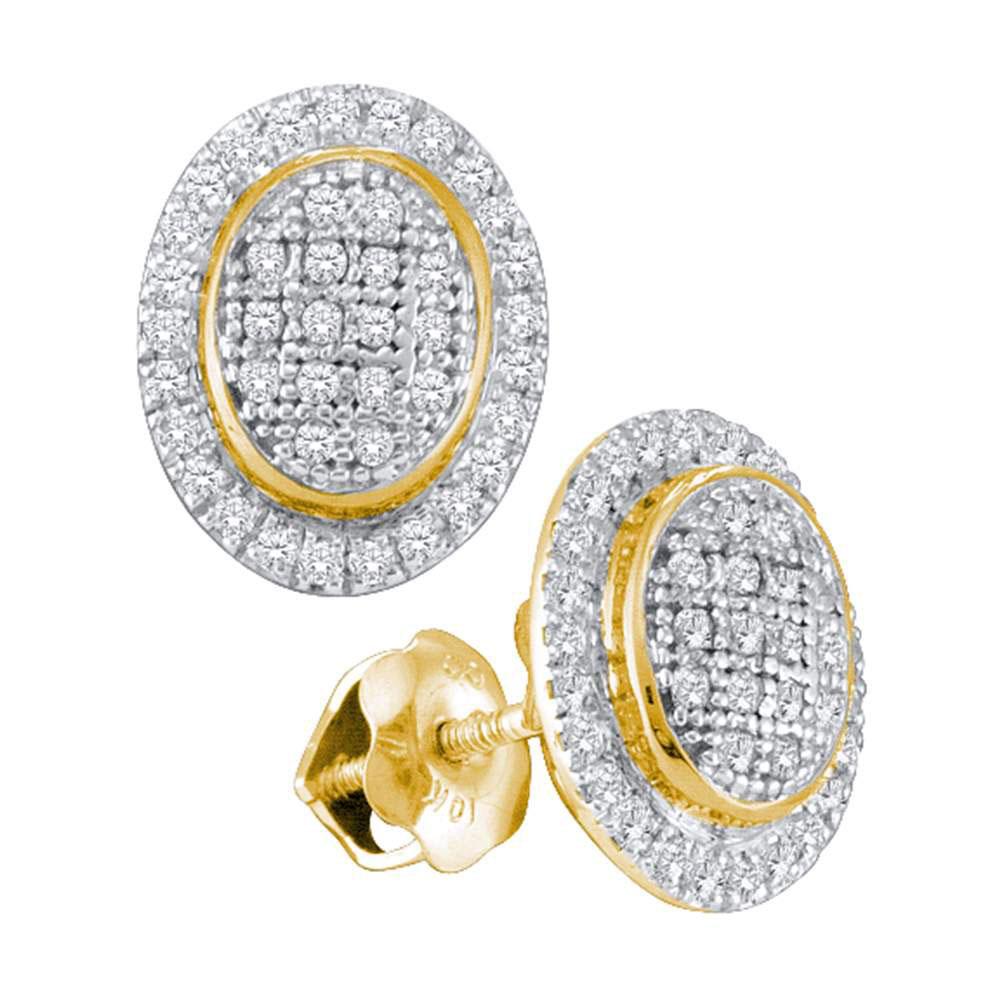 Diamond Oval Frame Cluster Earrings 10kt Yellow Gold