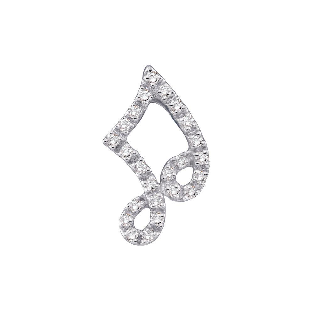 Diamond Half Note Music Fashion Pendant 14kt White Gold