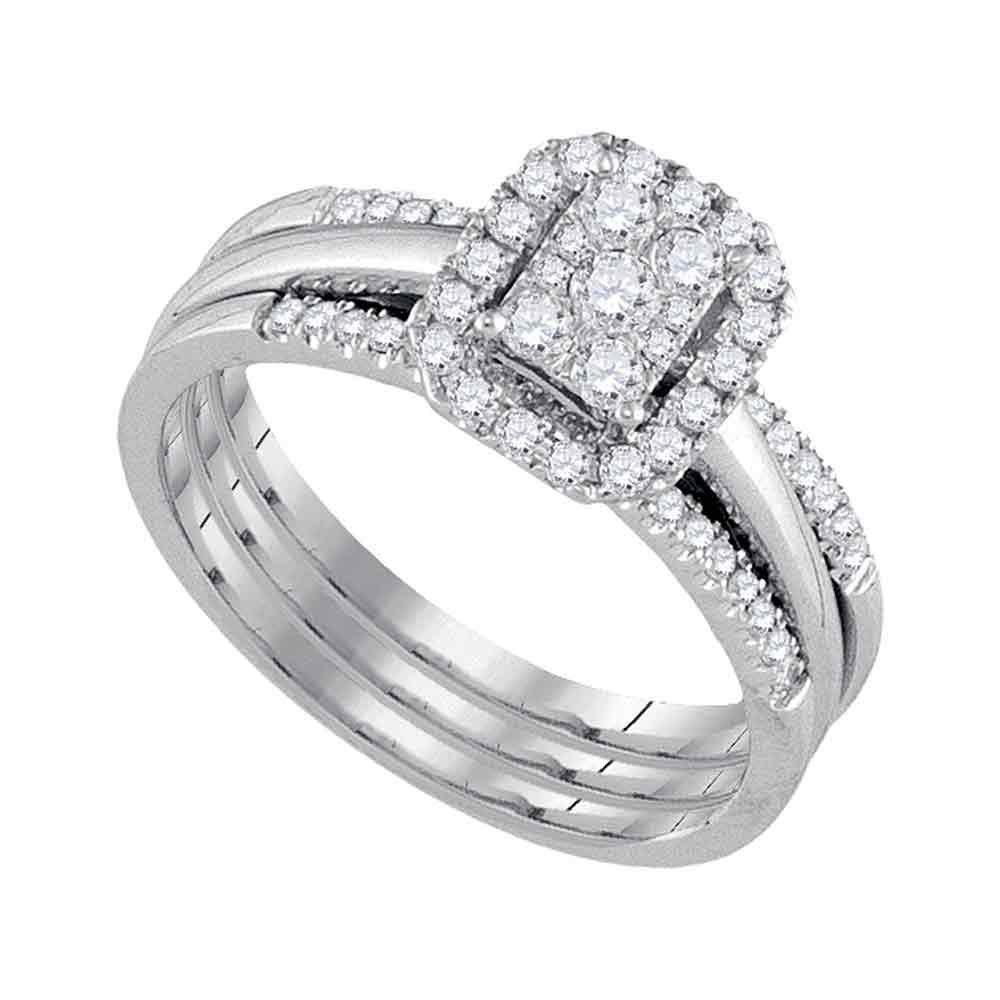 Diamond Cluster Bridal Wedding Engagement Ring 10kt White Gold