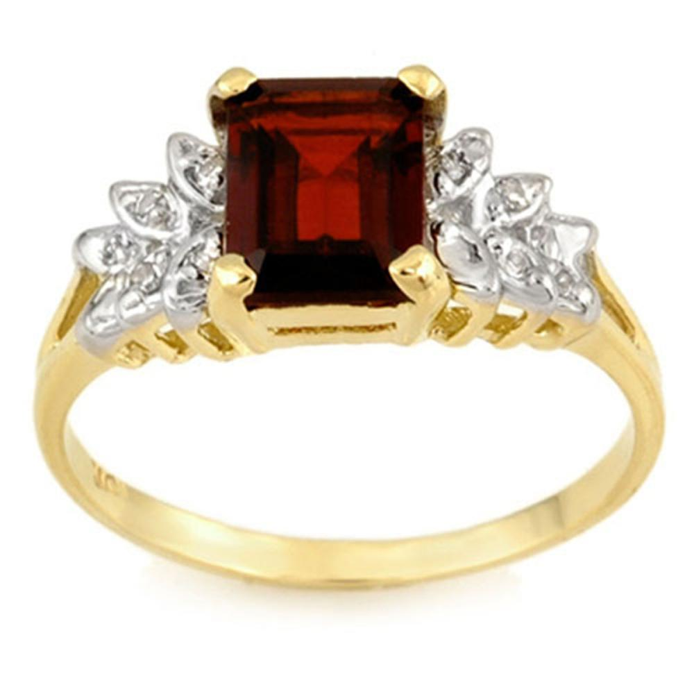 2.37 CTW Genuine Garnet & Diamond Ring 10K Yellow Gold