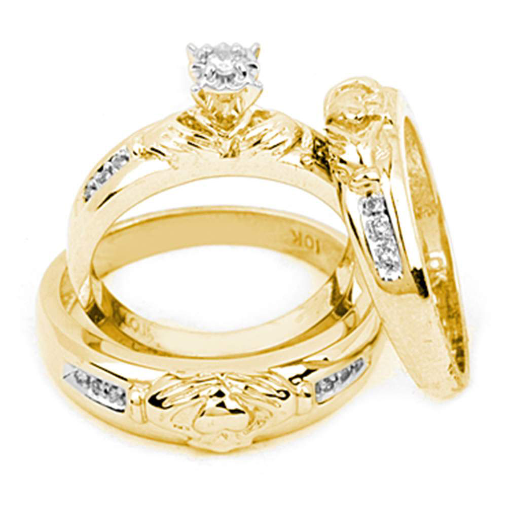 His & Hers Diamond Claddagh Matching Bridal Wedding Ring 14kt Yellow Gold