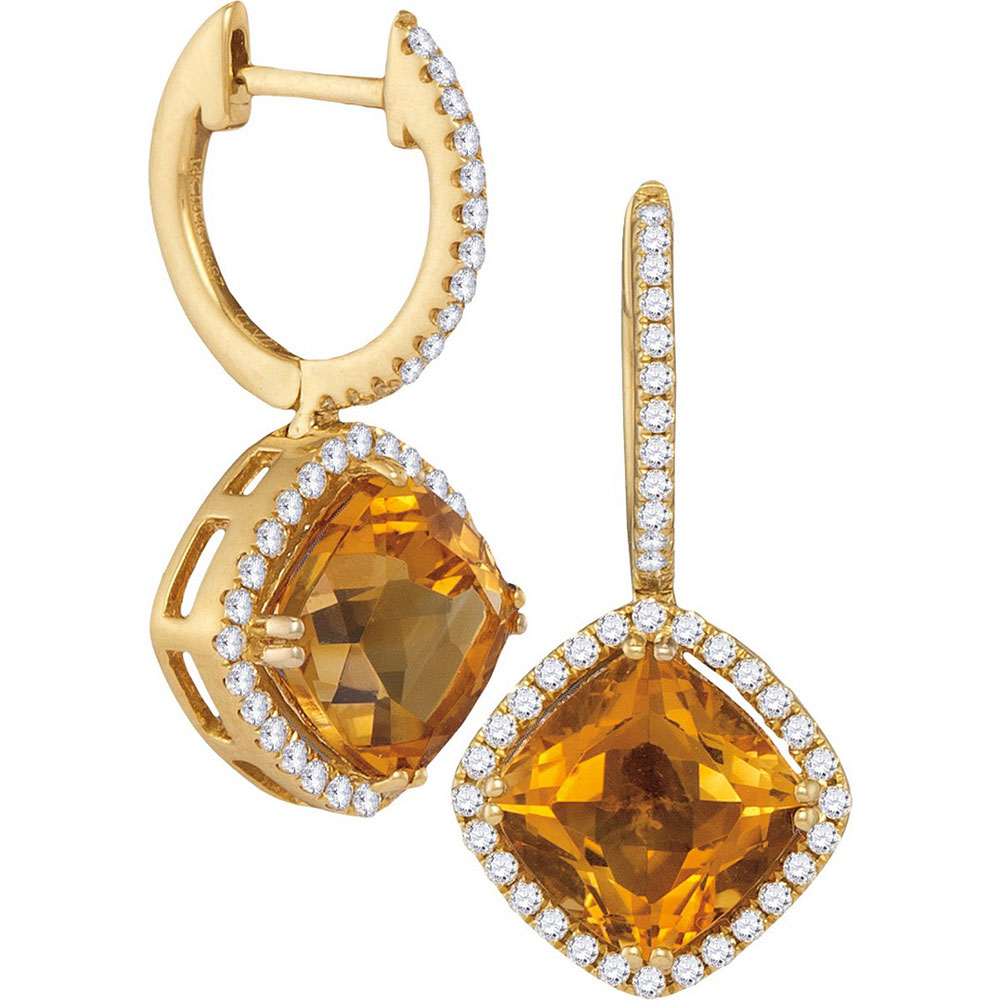 Cushion Natural Citrine Diamond Dangle Earrings 14kt Yellow Gold