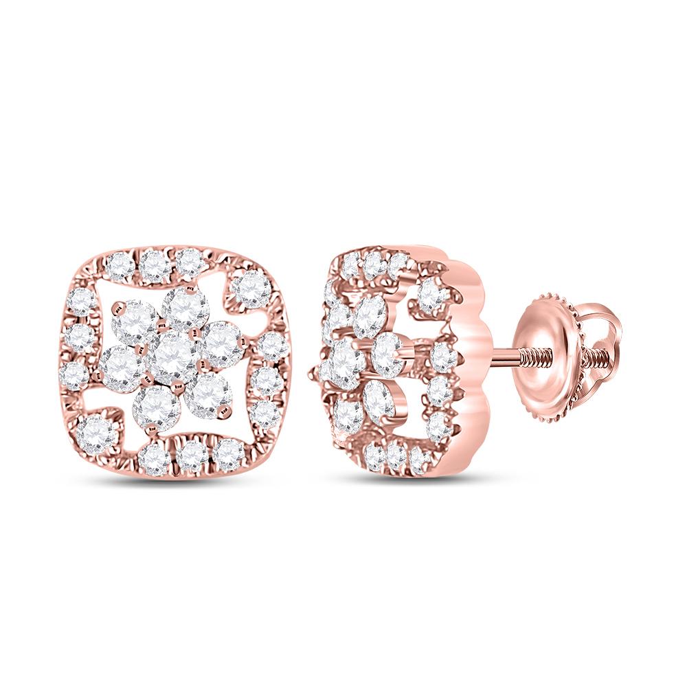Diamond Square Frame Cluster Earrings 14kt Rose Gold