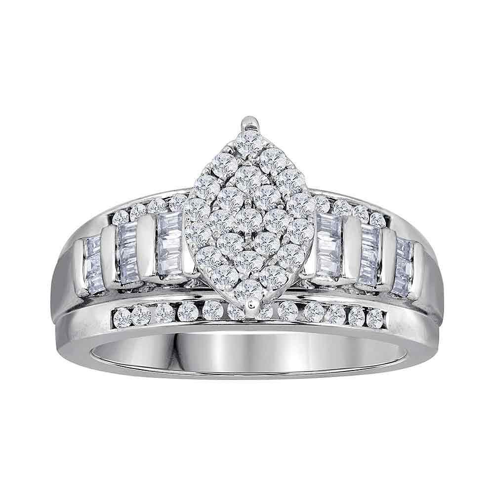 Diamond Oval Cluster Bridal Wedding Engagement Ring 10kt White Gold