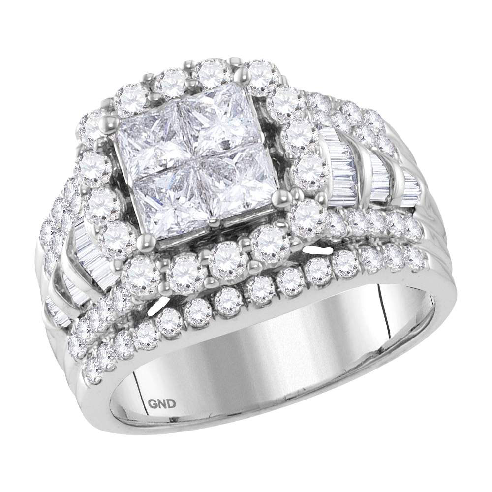 Princess Diamond Cluster Bridal Wedding Engagement Ring 14kt White Gold