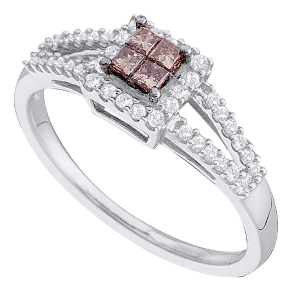 Princess Brown Diamond Split-shank Cluster Ring 14kt White Gold