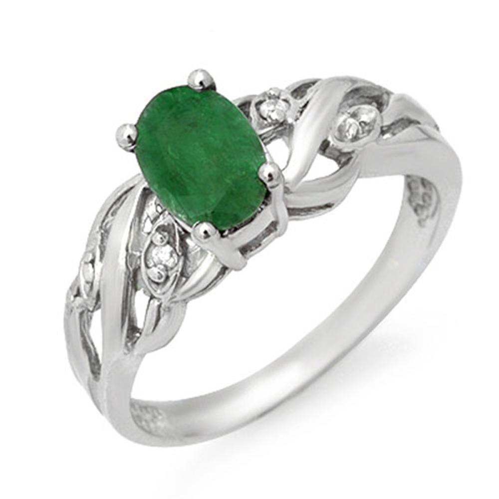 0.82 CTW Genuine Emerald & Diamond Ring 18K White Gold
