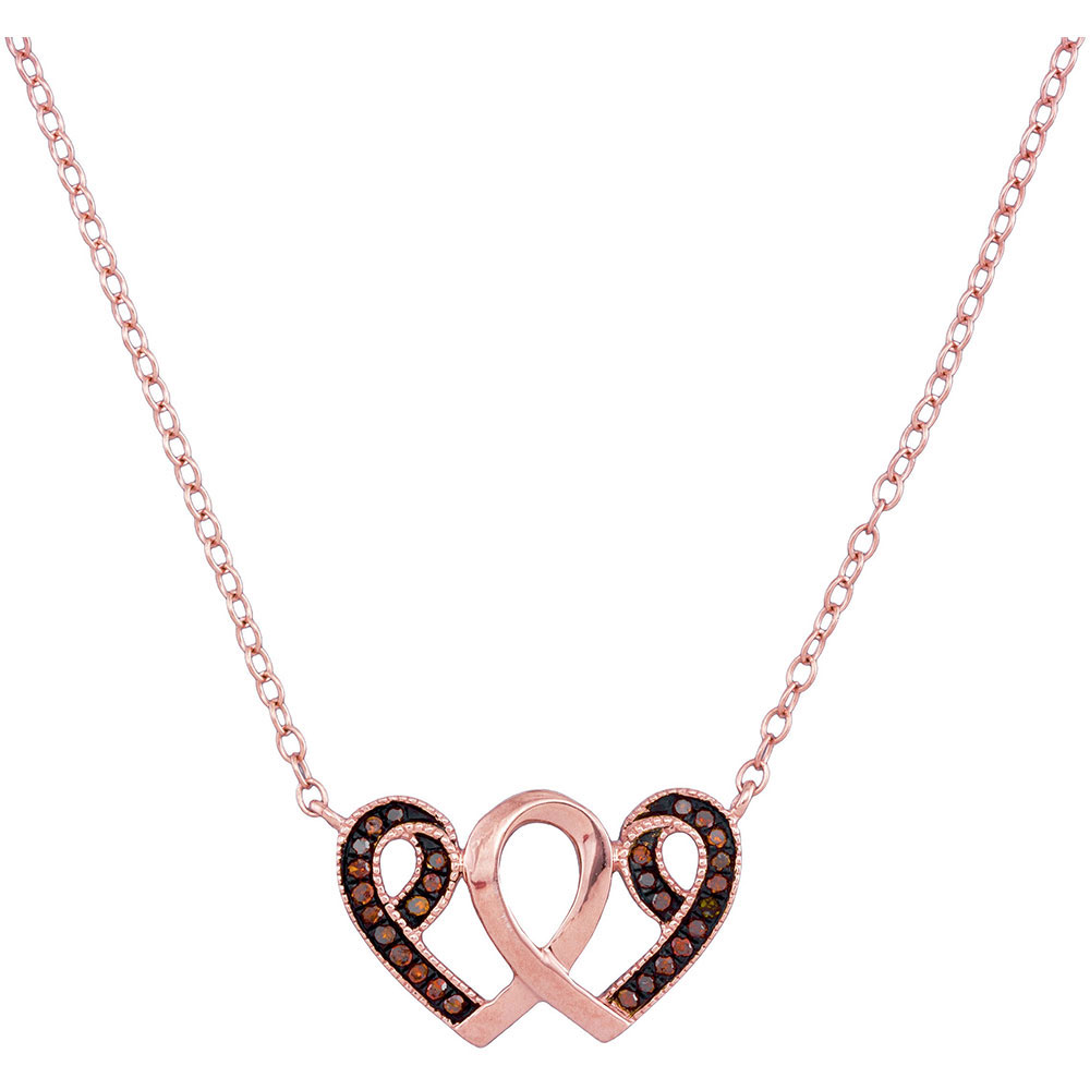Red Color Enhanced Diamond Heart Awareness Ribbon Pendant 10kt Rose Gold